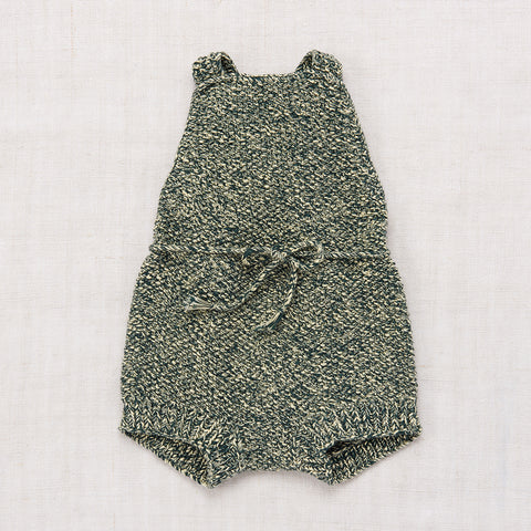 Hand-knit Cotton Starfish Sunsuit - Spruce - 2-4y