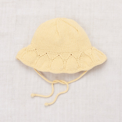 Hand-knit Cotton Starling Sunhat - Buttercream - 6-8y