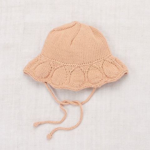 Hand-knit Cotton Starling Sunhat - Putty - 6-8y