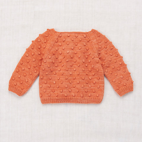 Hand-knit Cotton Summer Popcorn Sweater - Clay - 7-8y