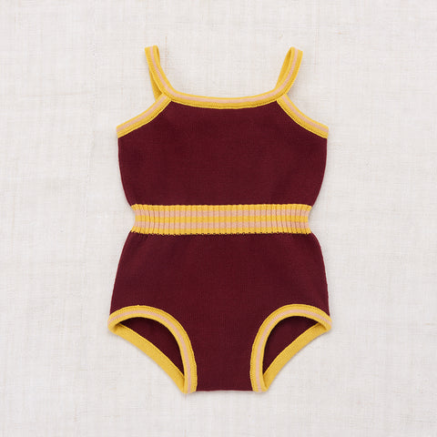 Cotton Swim Suit / Leotard - Burgundy - 5-8y