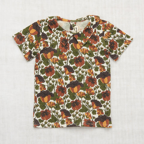 Organic Cotton Trumpet Flower Collar Tee - Black Walnut - 3-8y