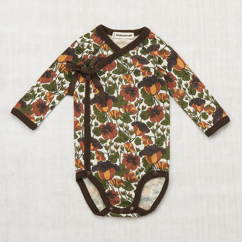 Organic Cotton Trumpet Flower Crossover Onesie - Black Walnut - 0-18m