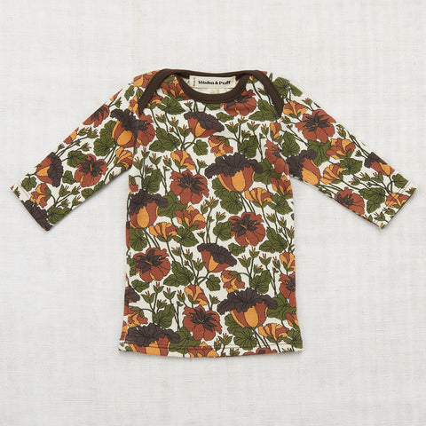 Organic Cotton Trumpet Flower Slim Tee - Black Walnut - 12m-8y