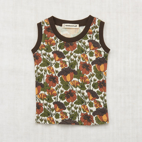 Organic Cotton Trumpet Flower Tank - Black Walnut - 2-8y