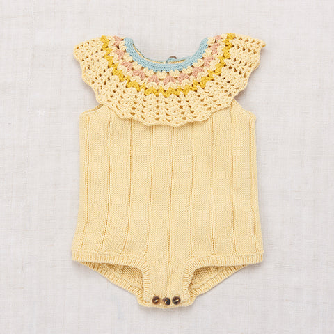 Hand-knit Cotton Vivian Romper - Buttercream - 0-3y