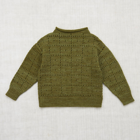 Cotton Windowpane Pullover - Moss - 2-8y