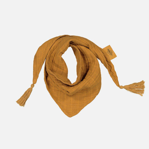 Cotton Muslin Misha Scarf with Pompons - Mustard