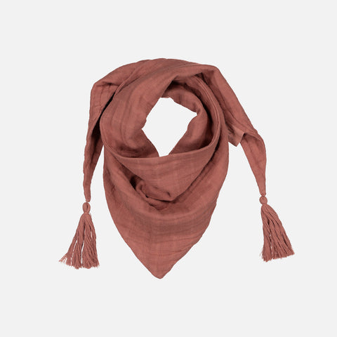 Cotton Muslin Misha Scarf with Pompons - Terracotta