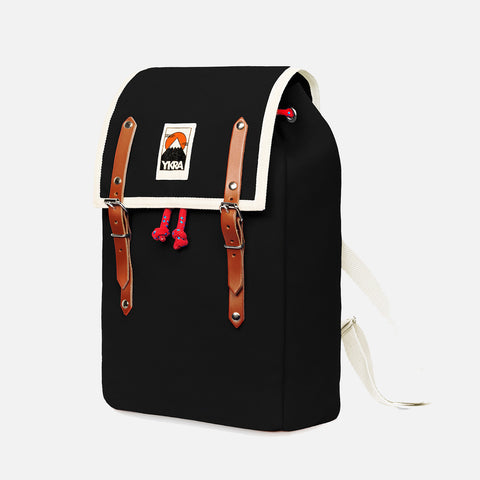 Cotton Canvas Matra Mini Backpack With Cotton Strap - Black