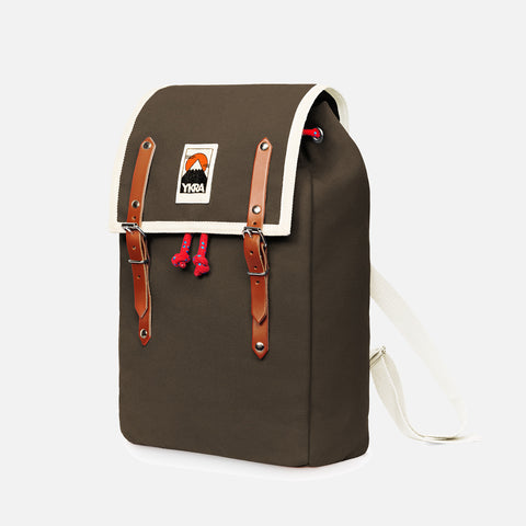 Cotton Canvas Matra Mini Backpack With Cotton Strap - Khaki