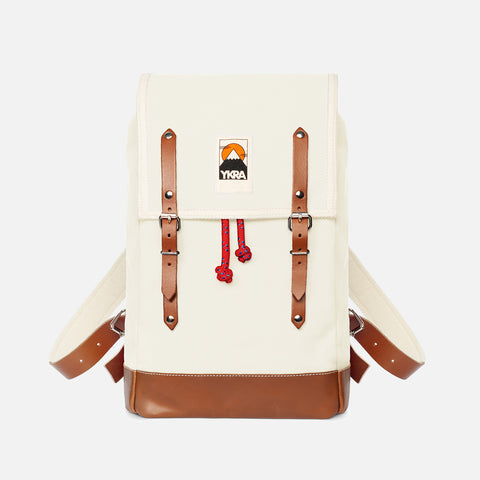 Cotton Canvas Matra Mini Backpack With Leather Strap & Base - White