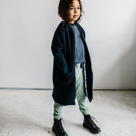 Wool Coat - Navy - 2-8y