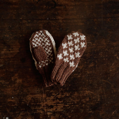 Hand-Knitted Knud Wool Mittens - Cinnamon