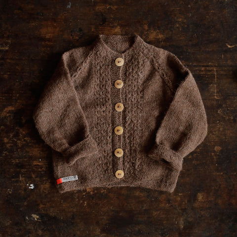 Hand-Knitted Alpaca Grethe Cardigan - Cocoa