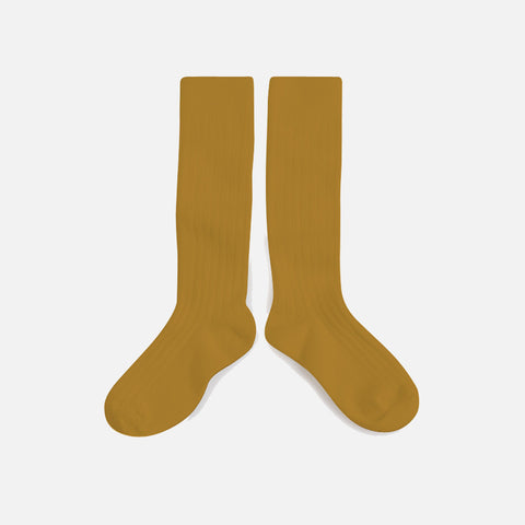 Adult Cotton Knee Socks - Mustard