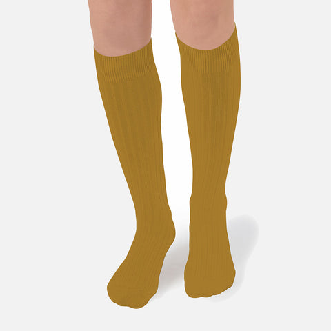 Adults Cotton Knee Socks - Mustard