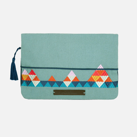 Cotton Nappy Clutch - Road Trip - Aqua