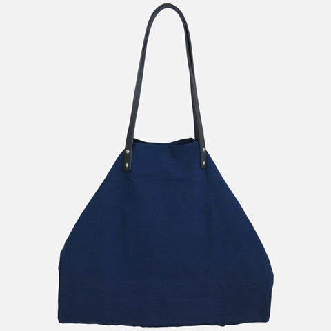 Textured Cotton Giga Tote - Navy