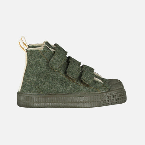 Organic Wool Felt High Top Velcro Trainer - Moss