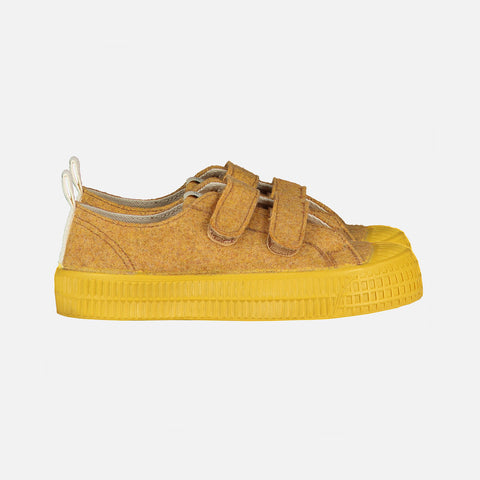 Organic Wool Felt Low Top Velcro Trainer - Mustard
