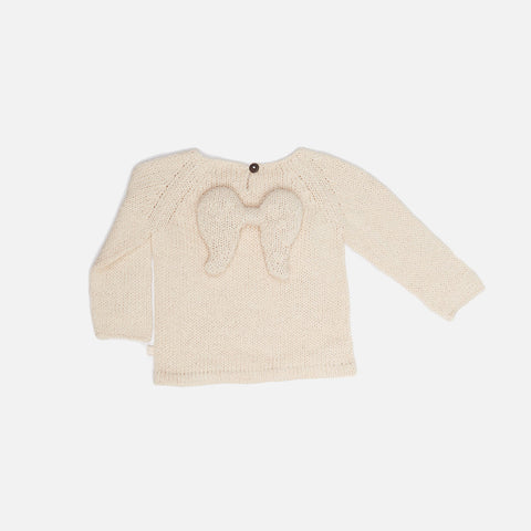 Cotton/Alpaca Knit Baby Angel Sweater - Natural - 3m-6m