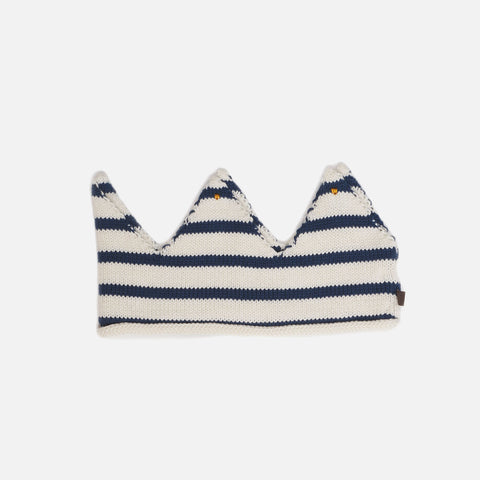 Cotton Knit Crown - White/Dark Navy - 0m-6y