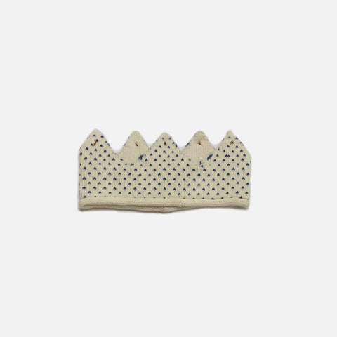 Cotton Knit Crown - White/Sapphire Dots - 0m-6y