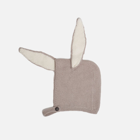 Cotton Knit Bunny Hat - Grey - 0-24m
