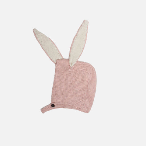 Cotton Knit Bunny Hat - Pink - 0-24m