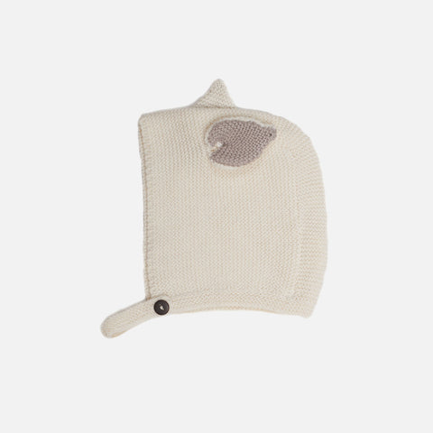 Cotton Knit Cat Hat - White - 0-24m