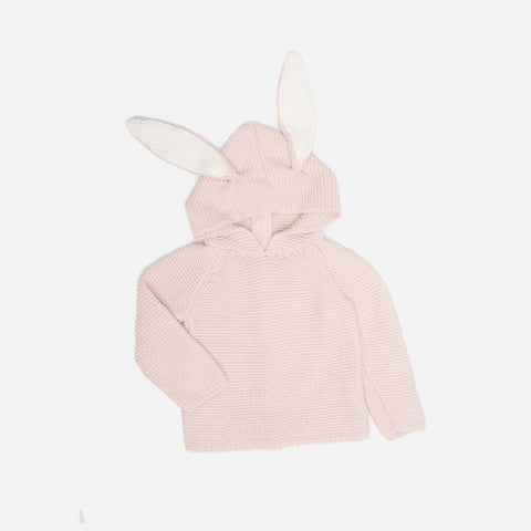 Cotton Bunny Hoodie - Pink - 12m