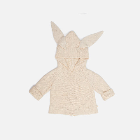 Cotton/Alpca Knit Baby Bunny Hoodie - Natural - 3m-6m