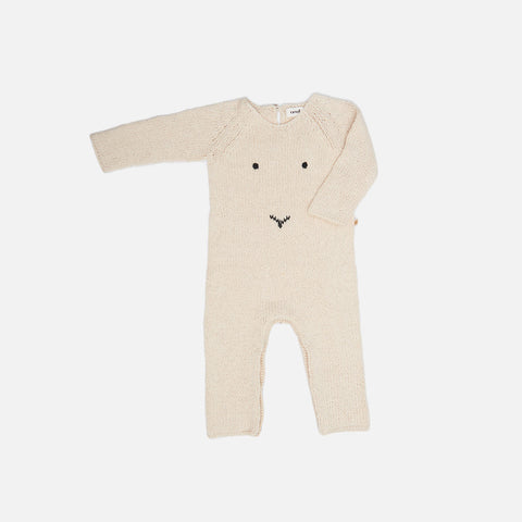 Cotton/Alpaca Knit Baby Bunny Romper - Natural - 6m