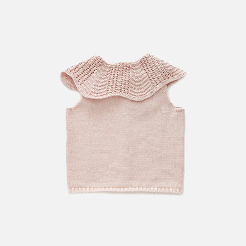 Knitted Cotton Scalloped Collar Vest - Light Pink - 12-18m