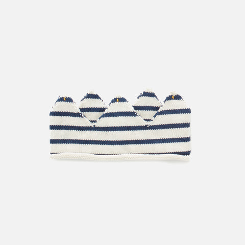 Kitted Cotton Crown Stripe - Navy/White - 3-6y