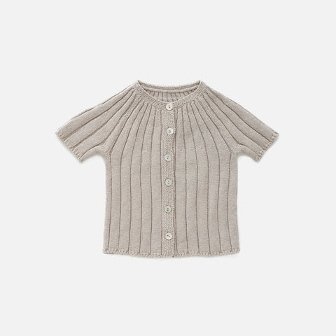 Knitted Cotton Ribbed SS Cardigan - Light Grey - 6m-6y