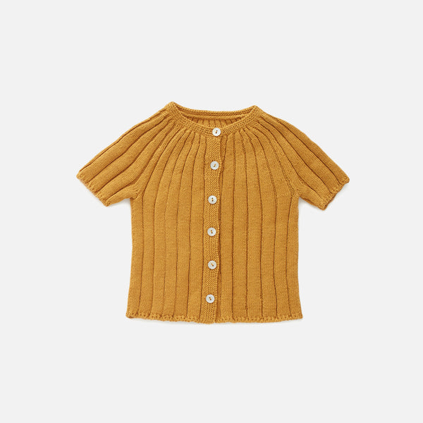 Knitted Cotton Ribbed SS Cardigan - Ochre - 6m-6y