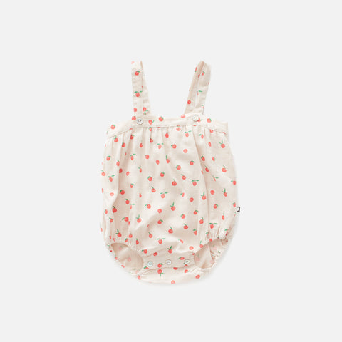 Linen Romper with Straps - Beige/Peaches - 6m & 2y