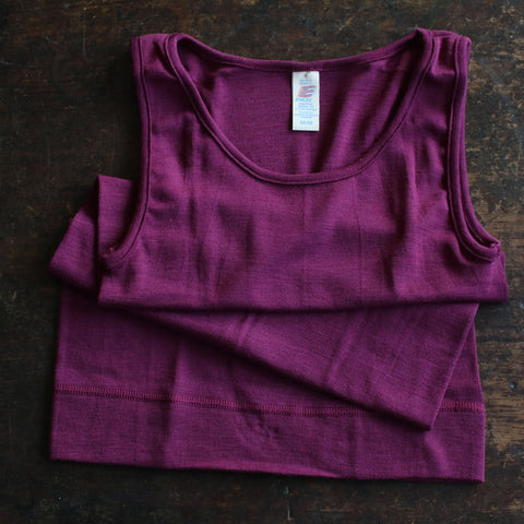 Organic Silk & Merino Wool Ladies Sleeveless Vest/Top - Orchid