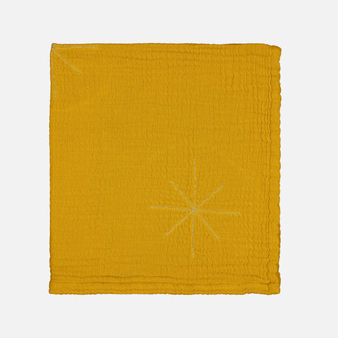 Cotton Pan Pan Gold Embroidered Baby Blanket - Mustard