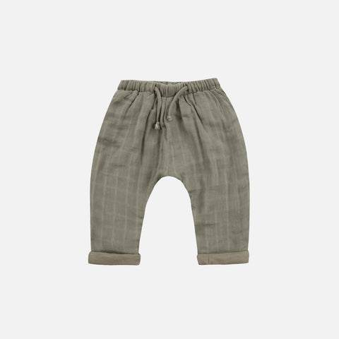 Cotton Muslin Baggy Pant - Moss - 2-6y