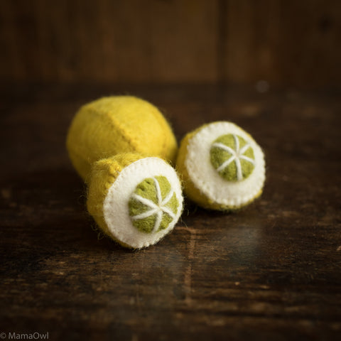 Felted Wool Fruit Lemon - 3 pieces