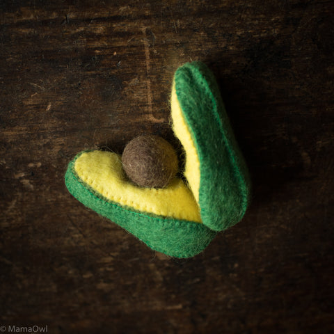 Felted Wool Fruit Avocado - Set of 2 Pieces