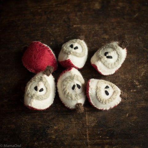 Felted Wool Fruit Apple - Set of 6 Pieces