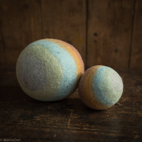 Felted Wool Rainbow Balls - Earth