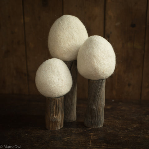 Felted Wool Earth Trees - Set of 3 - Winter