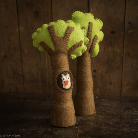 Felted Wool Tree With Owl - Set of 2
