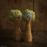 Felted Wool Tree With Bird - Set of 2