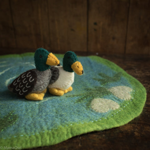 Felted Wool Duck Pond With Two Ducks